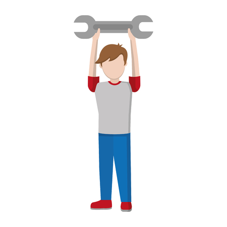 child boy with wrench equipment in the hands vector illustration
