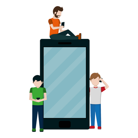 people with smartphone social communication technology vector illustration