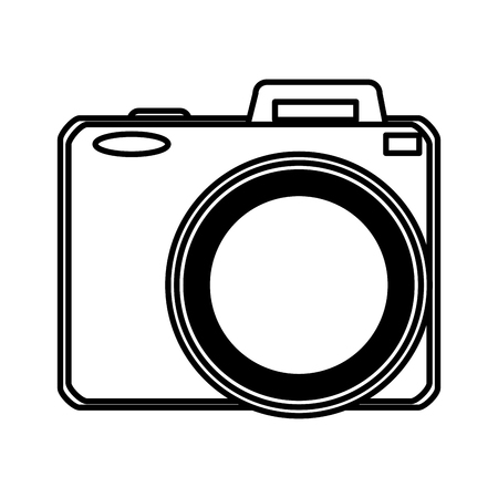 line digital camera technology to take a picture vector illustration