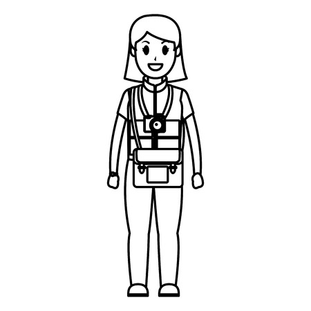 line happy photographer camera with bag and uniform vector illustration Vectores