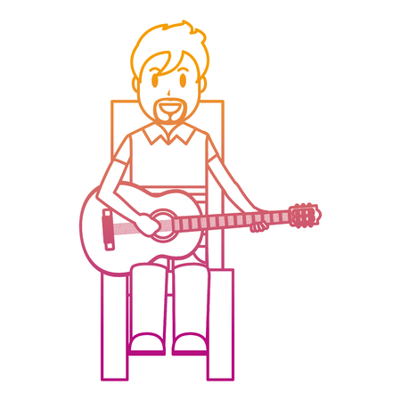 degraded line happy musician sitting to play guitar vector illustration