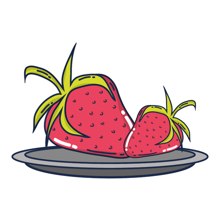 delicious strawberries organic fruit in the tray vector illustration
