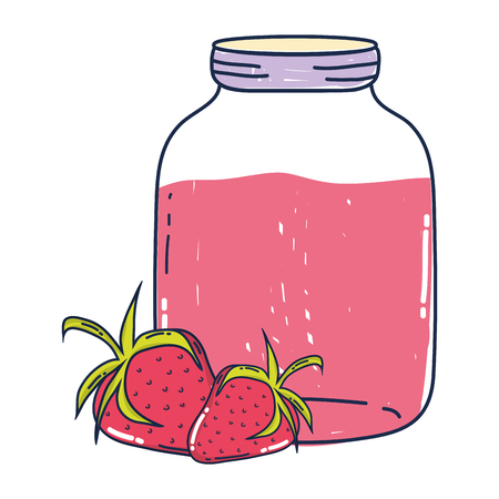 delicious strawberries fruit and juice jar vector illustration Stock Illustratie