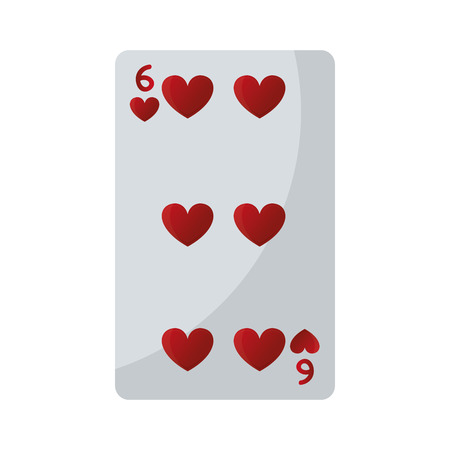 six hearts casino card game vector illustration