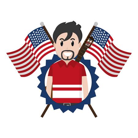 musician with usa flags and nation emblem vector illustration Ilustração