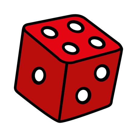 colore casinò dadi cubo gioco dipendenza illustrazione vettoriale Vettoriali