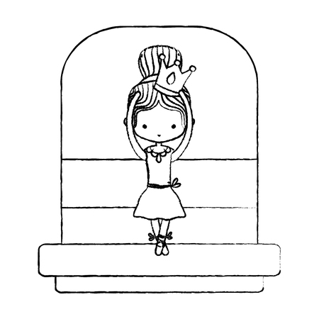 grunge cute ballerina girl with crown and hairstyle vector illustration