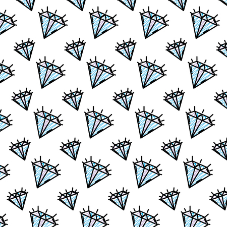 doodle brillant diamond luxury accessory background vector illustration