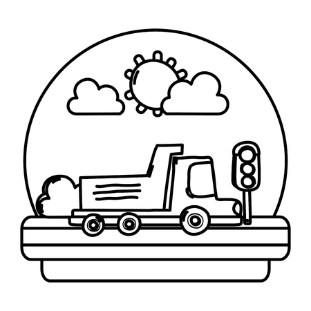 line truck and street with traffic lights in the landscape vector illustration Illustration
