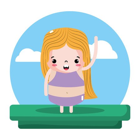 beauty girl with blouse and short in the landscape vector illustration
