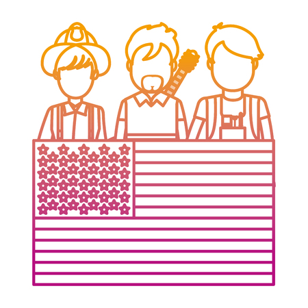 degraded line professional people careers with usa flag vector illustration