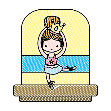 doodle ballerina girl dancing with crown and hairstyle vector illustration