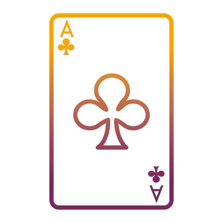 degraded line A of clover poker card game vector illustration