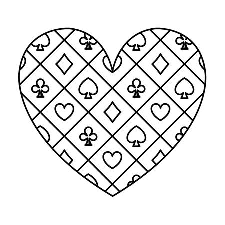 line heart casino poker game symbol vector illustration