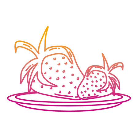 degraded line delicious strawberries organic fruit in the tray vector illustration Illustration