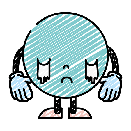 doodle weeping emoji character with arms and legs vecctor illustration Illustration