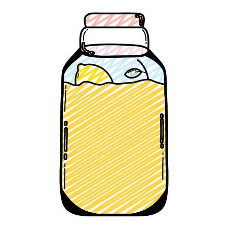 doodle mason jar with organic lemons preserve vector illustration