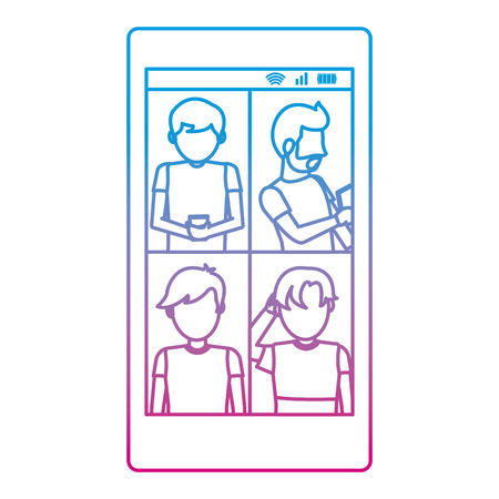 degraded line people with social smartphone and digital communication vector illustration