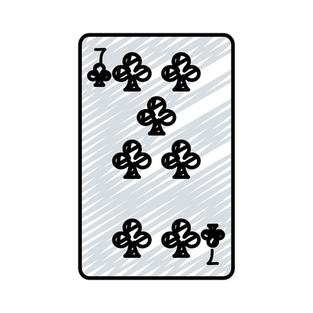doodle seven clovers casino card game vector illustration 일러스트