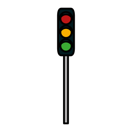 color traffic light road sign object vector illustration Illustration