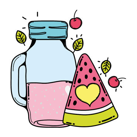 color watermelon and cherries juice in the jar and leaves vector illustration
