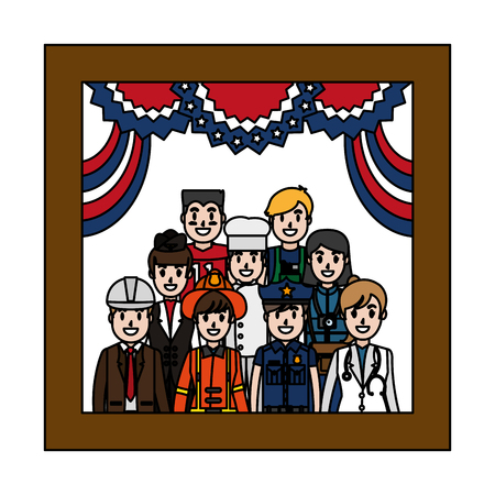 color professional people picture to usa celebration vector illustration