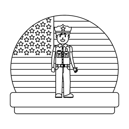line policeman with uniform and usa flag nation vector illuustration Vettoriali