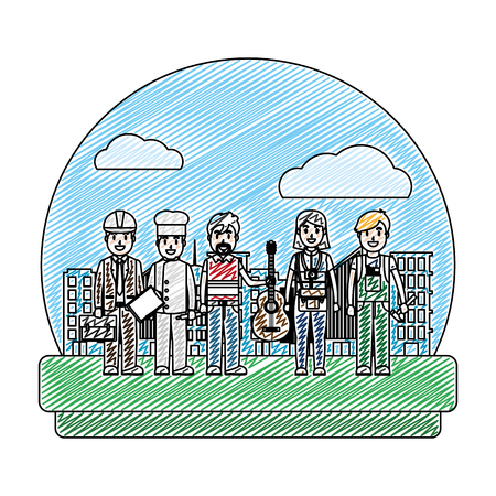 doodle professional people carrer job in the city vector illustration Stock Illustratie