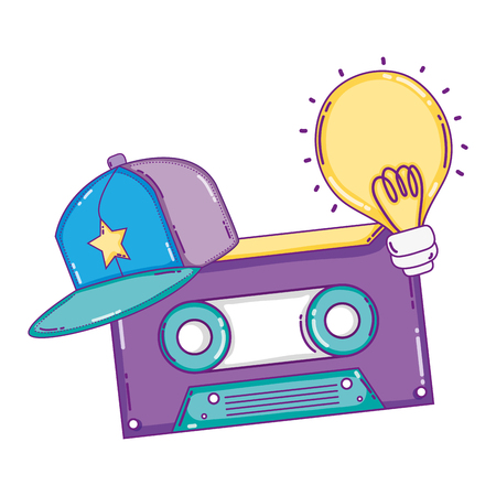 retro cassette tape with cap and bulb vector illustration