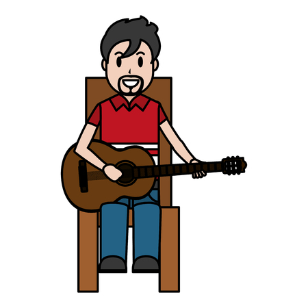 color happy musician sitting to play guitar vector illustration