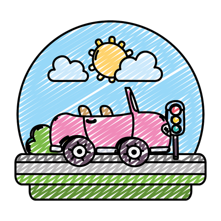 doodle cute car and traffic lights in the landscape vector illustration Vettoriali