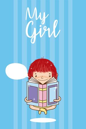 Beautiful girl reading a book with blank bubble speech cute cartoon vector illustration graphic design Ilustração