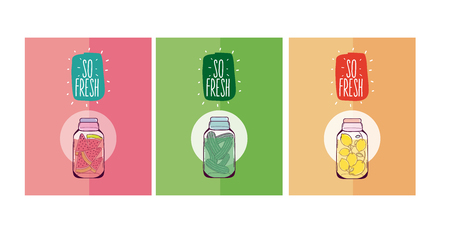 Juice and jars set of cards vector illustration graphic design