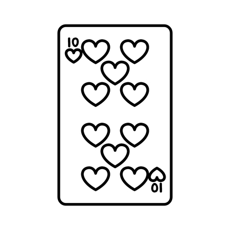 line ten hearts casino card game vector illustration