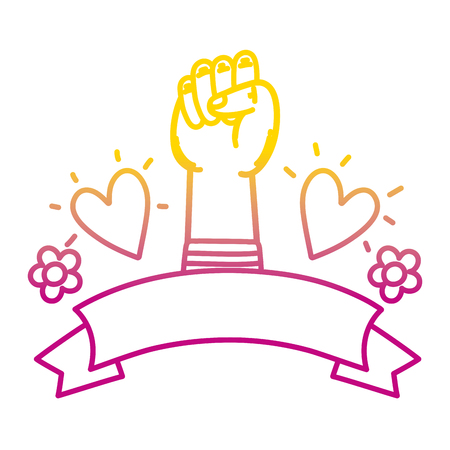 degraded line fist up hand gesture with heart and flowers vector illustration