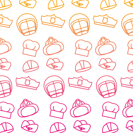 degraded line professional hats and helmets work background vector illustration Illustration