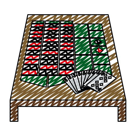 doodle casino cards rentals fortune game vector illustration  イラスト・ベクター素材