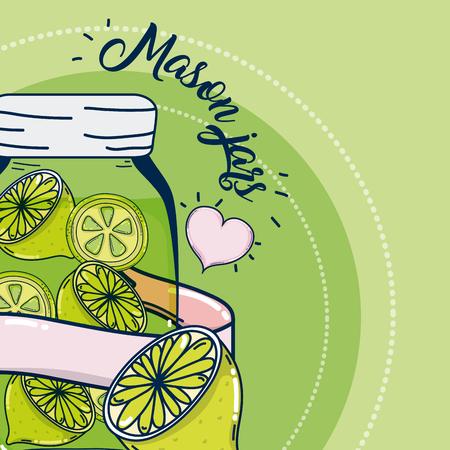 Mason jars juice fruits