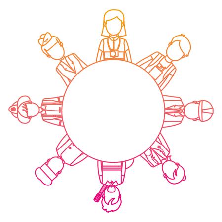 degraded line professional people carrer job emblem vector illustration