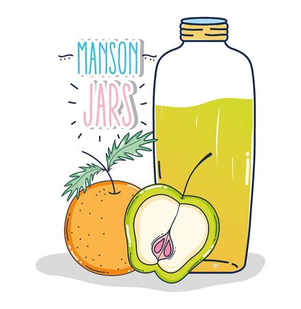 Mason jar with orange and apple fruit vector illustration graphic design