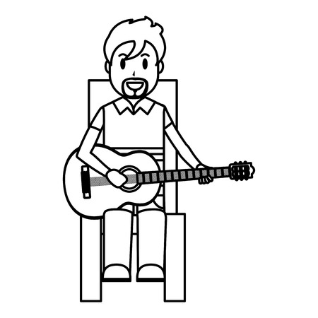 line happy musician sitting to play guitar