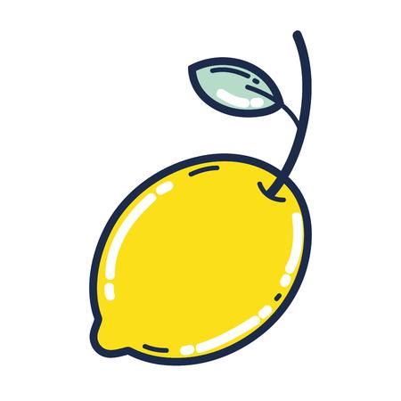 delicious lemon organic fruit vitamin vector illustration
