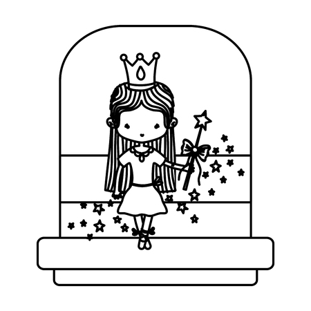 line ballerina girl with crown and magic wand vector illustration