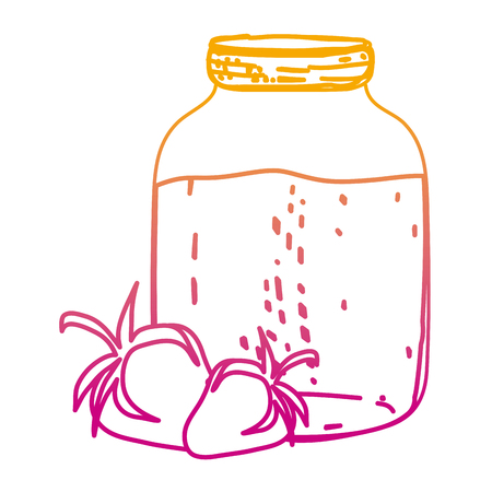 degraded line delicious strawberries fruit and juice jar vector illustration