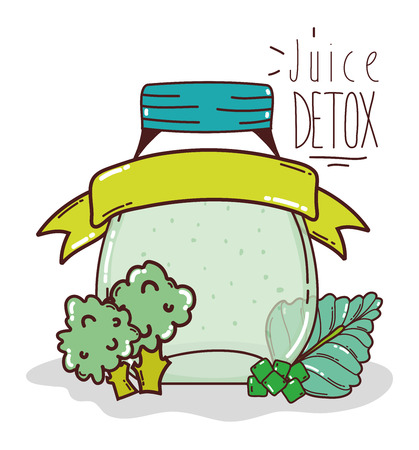 Detox juice mason jar with blank ribbon banner cartoon vector illustration graphic design
