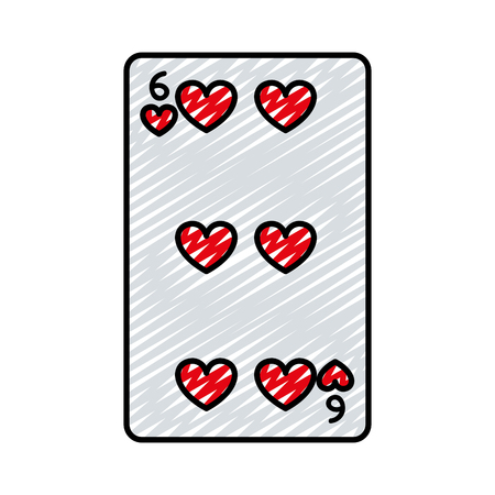 doodle six hearts casino card game vector illustration Illustration