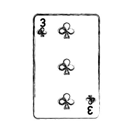 grunge three clovers casino card game vector illustration