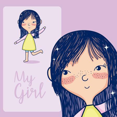 Beautiful girl smiling cute cartoon over pastel color background vector illustration graphic design Ilustração