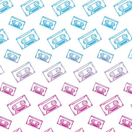 degraded line tape cassette retro music background Ilustrace