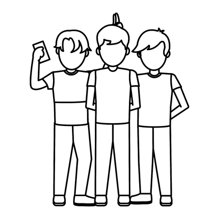 line children boys playing with social smartphone vector illustration Stock Illustratie